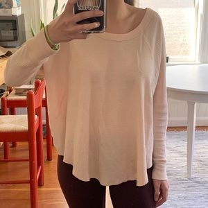 Free People Pink Waffle Thermal Top